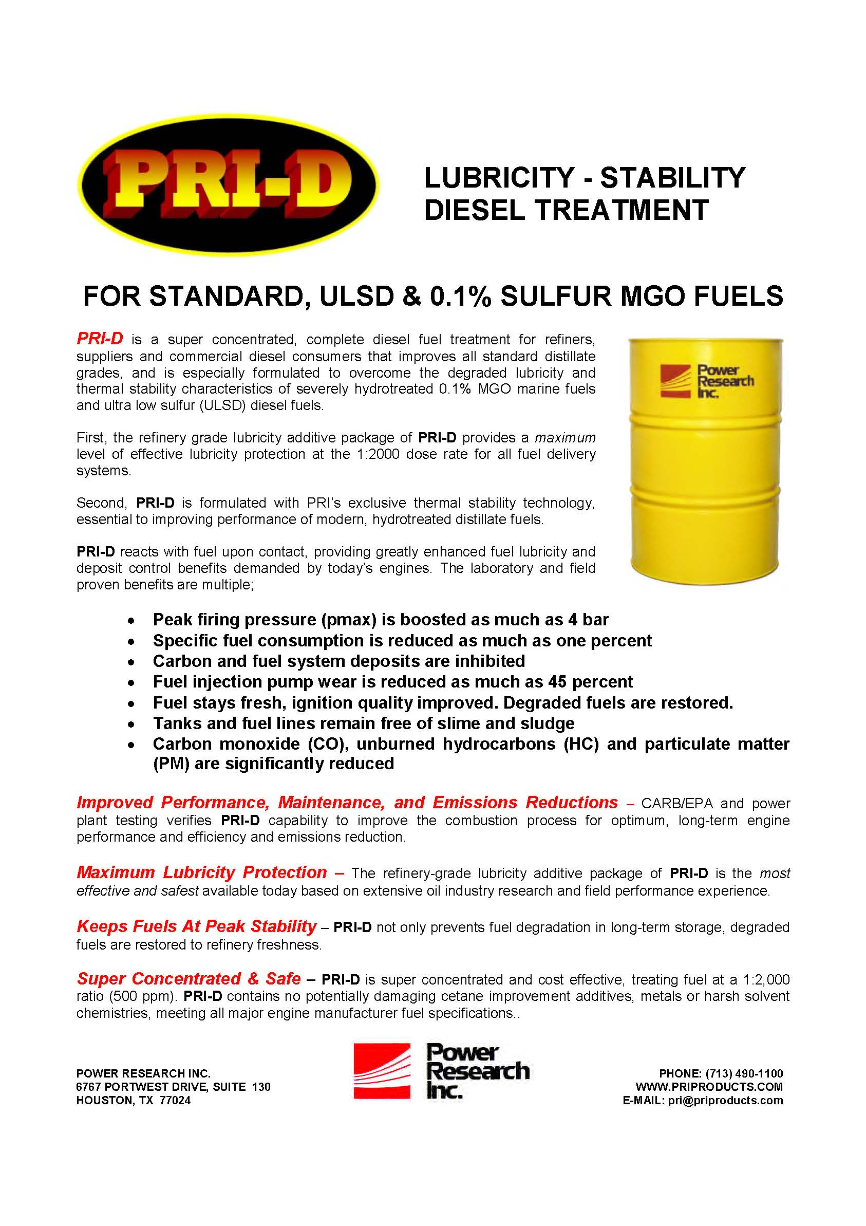PRI-D Industrial Fuel Treatment
